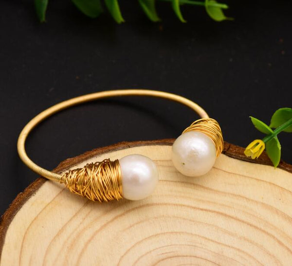 Handmade Natural Fresh Water Pearl Adjustable Bangle -  [product_type] - ShaadiMagic