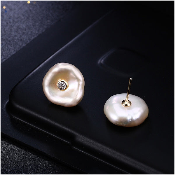 Sterling Silver Baroque Freshwater Pearl Stud Earrings -  [product_type] - ShaadiMagic