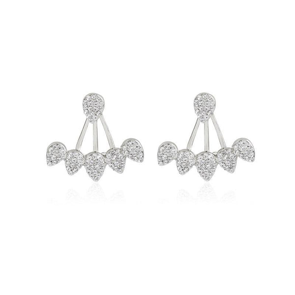 Korean Crystal Front Back Double Sided Stud Earrings -  [product_type] - ShaadiMagic