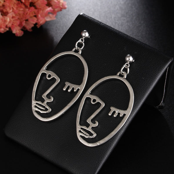 Stylish Hollow Out Face Dangle Earrings -  [product_type] - ShaadiMagic