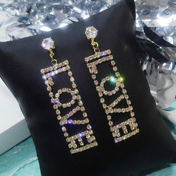 LOVE Letter Big Crystal Drop Earrings -  [product_type] - ShaadiMagic