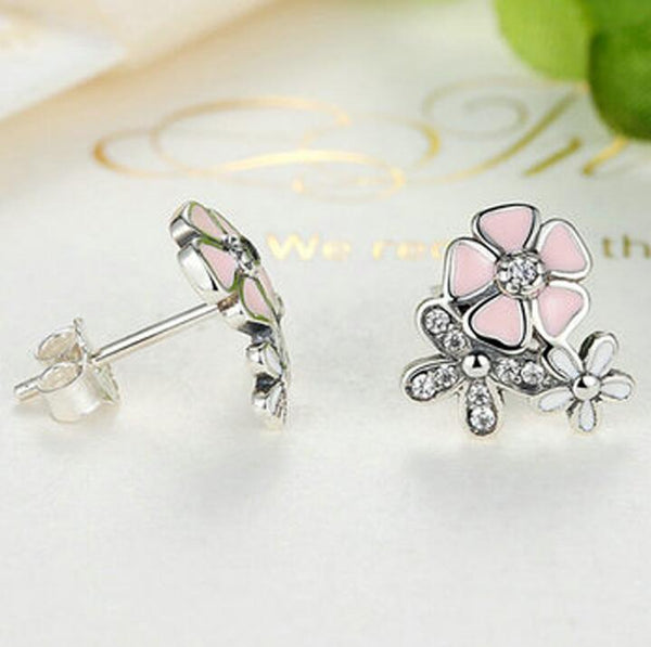 Silver-studded Pink Cherry Blossom Poem Flower Bloom Three-flowered Earrings -  [product_type] - ShaadiMagic