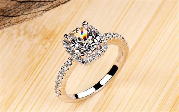 Sterling Silver White Gold Bridal Ring -  [product_type] - ShaadiMagic
