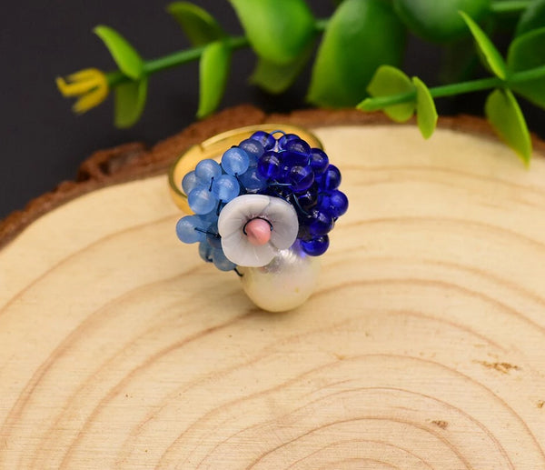 925 Sterling Silver Natural Pearl Blue Stone Ring -  [product_type] - ShaadiMagic