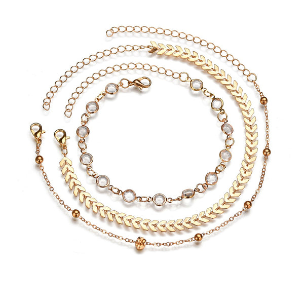 3 Pc. Crystal Anklet Set Vintage