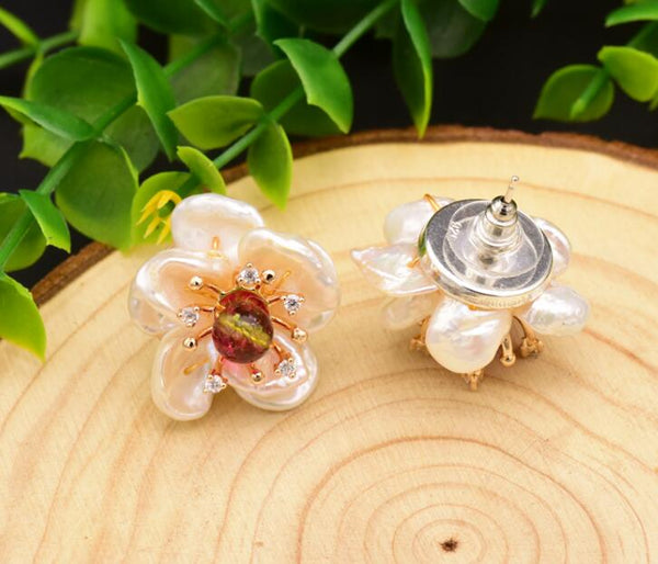 Natural Tourmaline Baroque Pearl Flower Earring -  [product_type] - ShaadiMagic