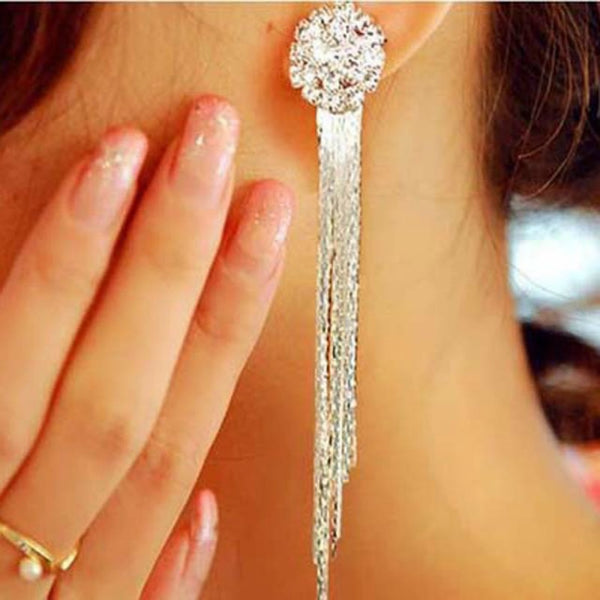 Korean Style Crystal Tassel Oorbellen Earrings -  [product_type] - ShaadiMagic