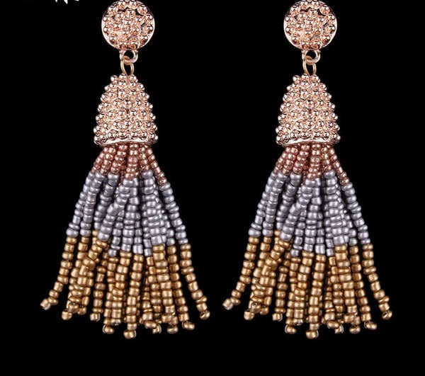 Colorful Beads Tassel Fringes Earrings -  [product_type] - ShaadiMagic