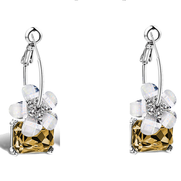 Crystal Colorful White Flower Earrings -  [product_type] - ShaadiMagic