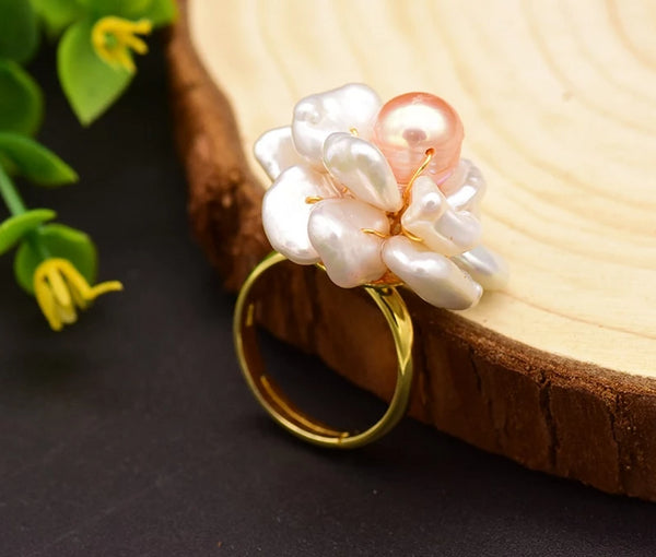 Natural Fresh Water Baroque Pink Pearl Flower Adjustable Ring -  [product_type] - ShaadiMagic