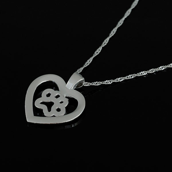 Dog Cat Paw Print Cut Heart Pendant Necklace -  [product_type] - ShaadiMagic