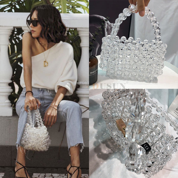 Transparent Crystal Designer Pearls Jelly Bag Clutch -  [product_type] - ShaadiMagic