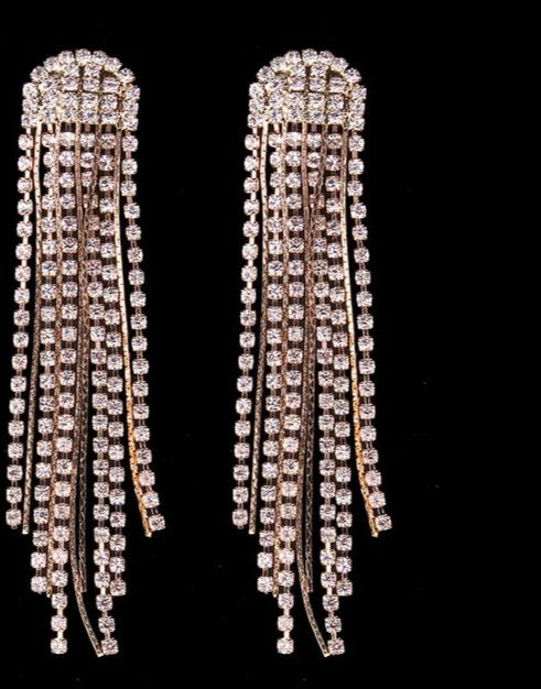 Hot Long Tassel Earrings Crystal Drop -  [product_type] - ShaadiMagic