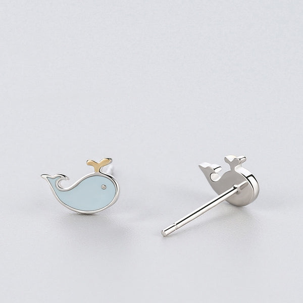 Silver Blue Whale Stud Earrings Fashion