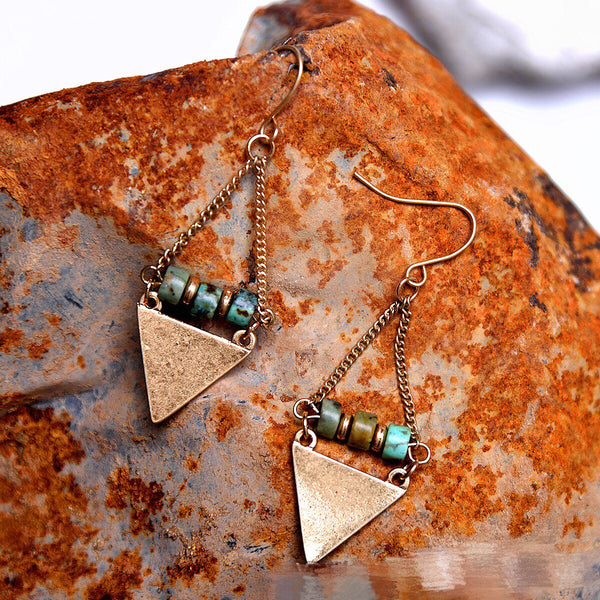 Boho Style Antique Natural Stone Bead Triangle Dangle Earring -  [product_type] - ShaadiMagic