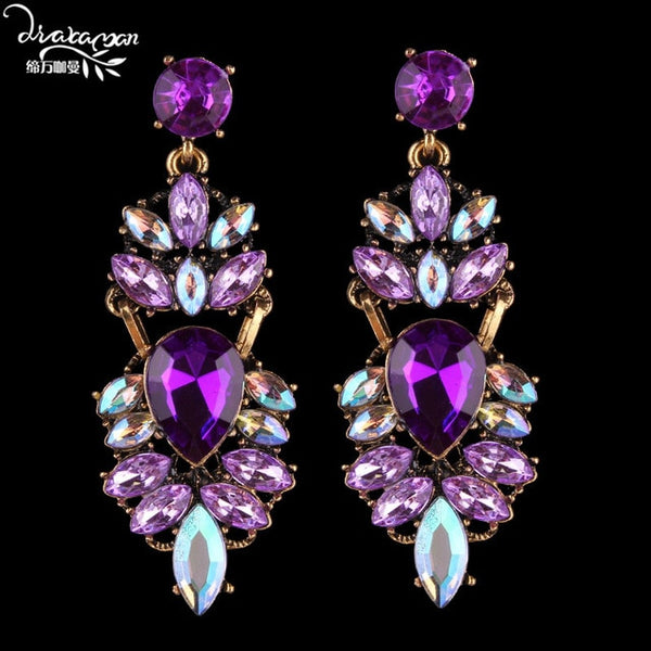 Rhinestone Crystal Drop Earrings -  [product_type] - ShaadiMagic