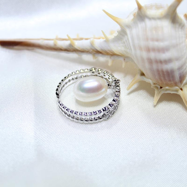 Natural 8-9 mm Pearl  Sterling Silver Engagement Ring -  [product_type] - ShaadiMagic