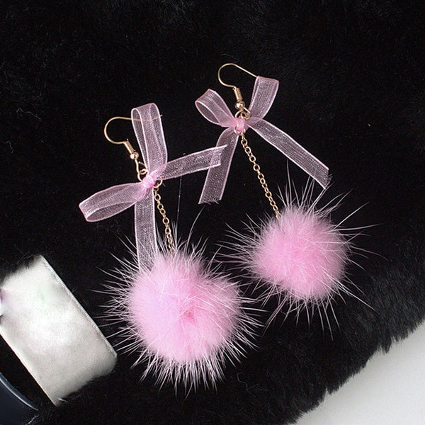 Sweet Plush Ball Aesthetic Bow Earring -  [product_type] - ShaadiMagic