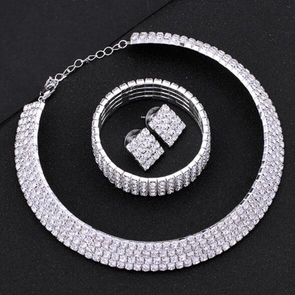 Silver Circle Crystal Jewelry Sets -  [product_type] - ShaadiMagic