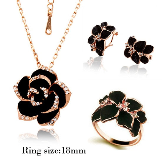 Rose Flower Enamel Jewelry Set -  [product_type] - ShaadiMagic