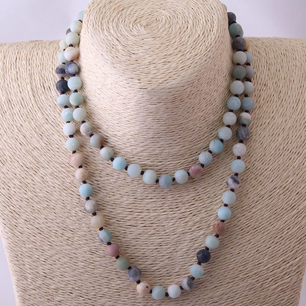 Long Knotted Beads Frosted Necklace