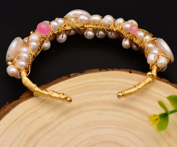 Original Natural Fresh Water Baroque Pearl Bangle Bracelet -  [product_type] - ShaadiMagic