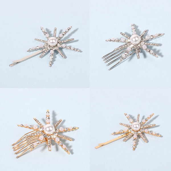 Fashion Star Rhinestone Pearl Hair Pin