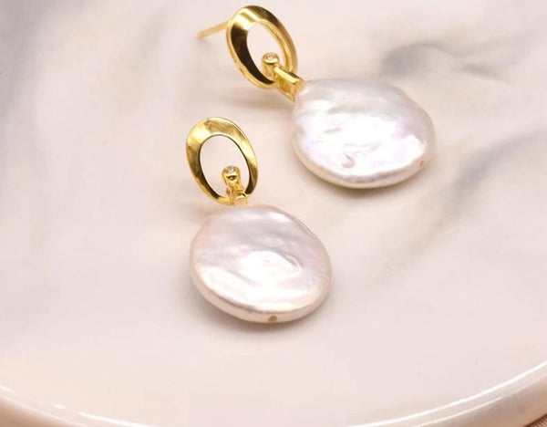 Natural Baroque Round Flat Pearl Stud Earrings
