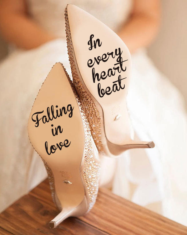 Falling In Love In Every Heart Beat Decal Forever Together Vinyl Sticker, Infinity Love Decal,wedding Gift For Bride Shoes Decor -  200001461 - ShaadiMagic