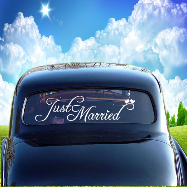 """Just Married"" Car Window Banner -  200220143 - ShaadiMagic"
