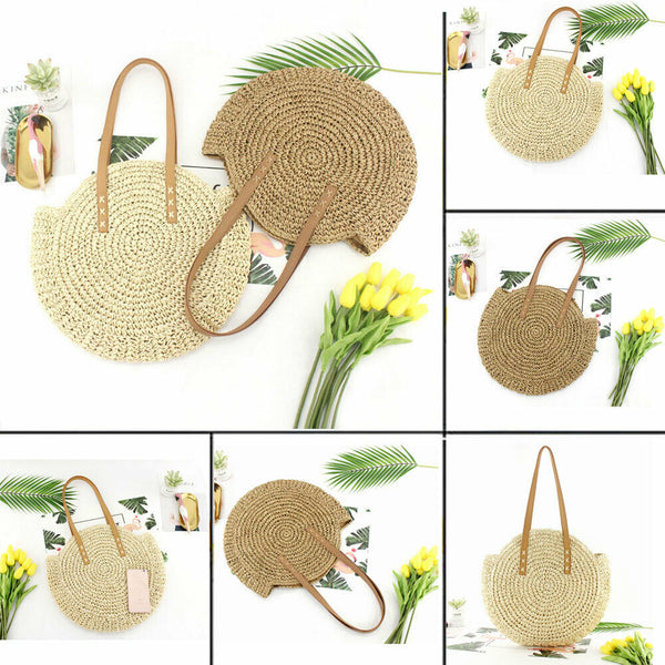 Round Rattan Straw Hand Woven Shoulder Bag -  100002856 - ShaadiMagic