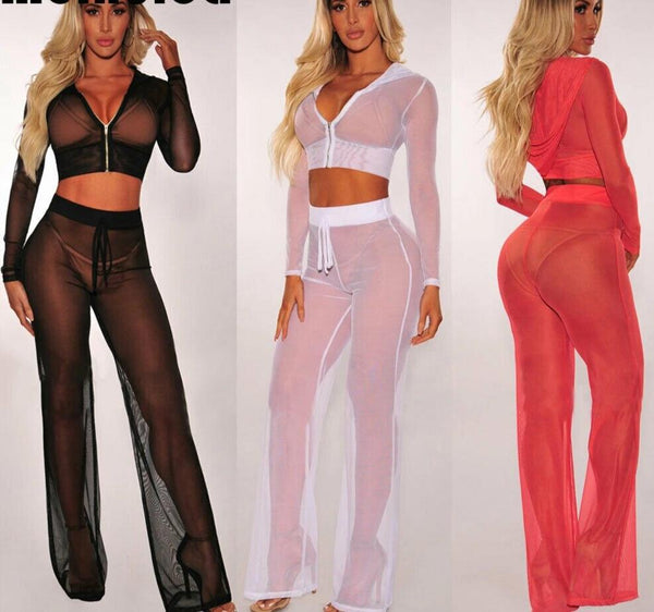Sheer Mesh Long Sleeve See Through Top & Pants Cover Up