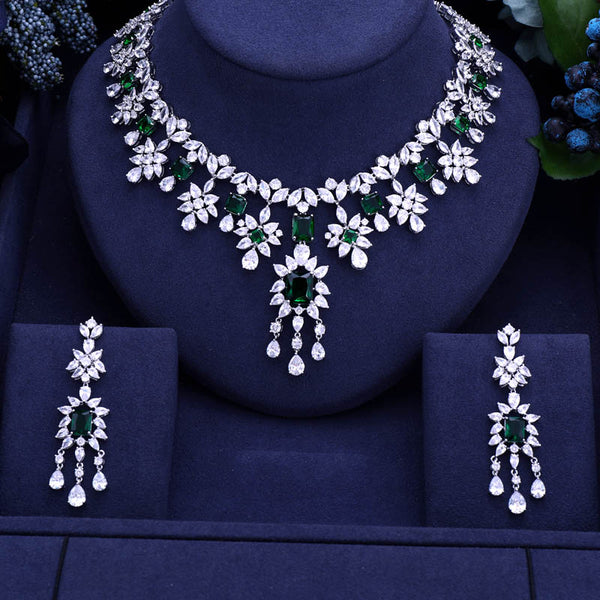 5 Colors Cubic Ziconia Bridal Jewelry Set -  100007324 - ShaadiMagic