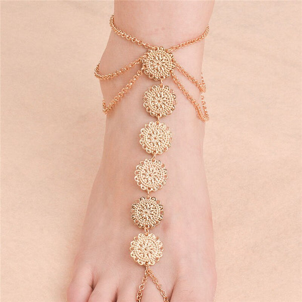 Flower Coins Foot Jewelry Anklet Sandals -  200000141 - ShaadiMagic