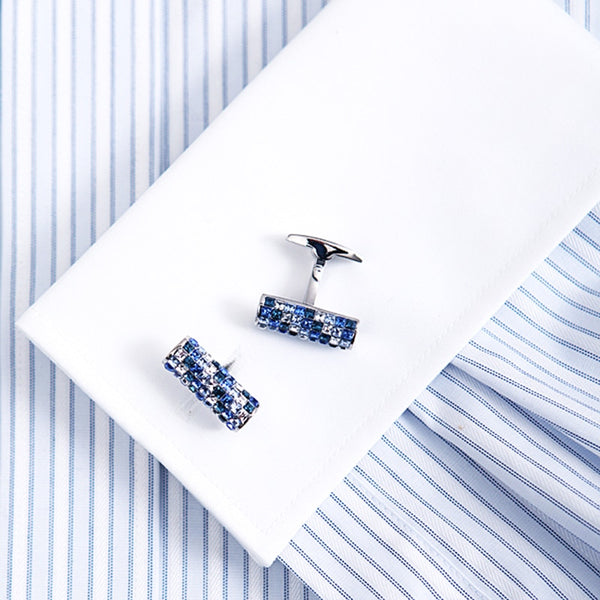 Blue and White Crystal Luxury Wedding Cuff link -  200000175 - ShaadiMagic