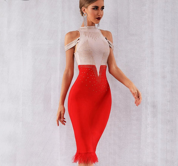 Elegant Off Shoulder Sexy Feather Bodycon -  200000347 - ShaadiMagic