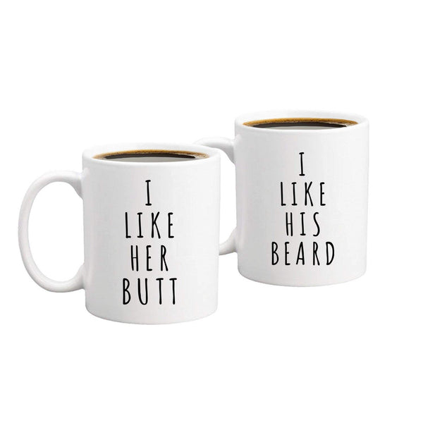 """I Like His Beard I Like Her Butt"" Couple Mugs -  100003290 - ShaadiMagic"