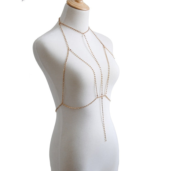 Sexy Crystal Bra Slave Harness Body Chain