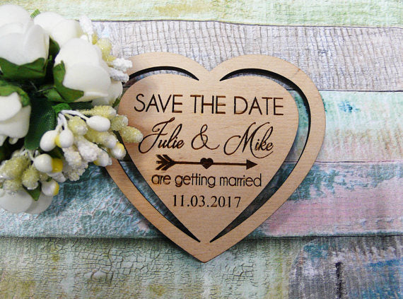 Wooden Save The Date Magnets Heart -  200222143 - ShaadiMagic