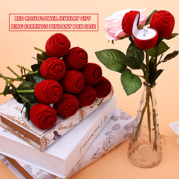 Useful Red Rose Flower Wedding Decoration Creative Propose Ring Jewelry Box Earring Ring Storage Jewelry Organizer Gift Case -  200220143 - ShaadiMagic