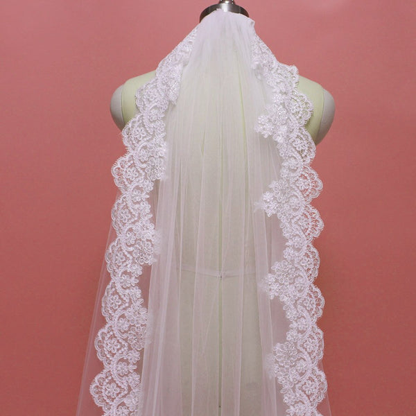 Bling Sequins Lace Edge Bridal Veil with Comb -  32002 - ShaadiMagic