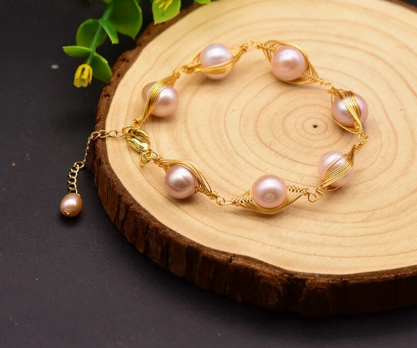 Purple Pearl Adjustable Bracelet -  200001687 - ShaadiMagic