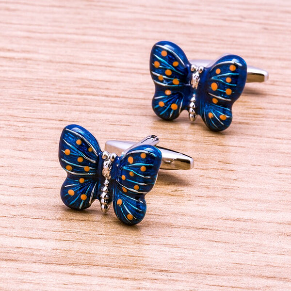 Blue Butterfly Cufflinks -  200000175 - ShaadiMagic
