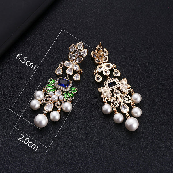 Flowers Cubic Zircon Crystal CZ Long Dangle Earrings -  200000168 - ShaadiMagic