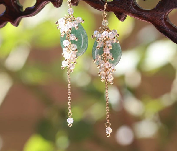 Natural Aventurine Quartz Long Drop Tassel Earrings -  200001692 - ShaadiMagic