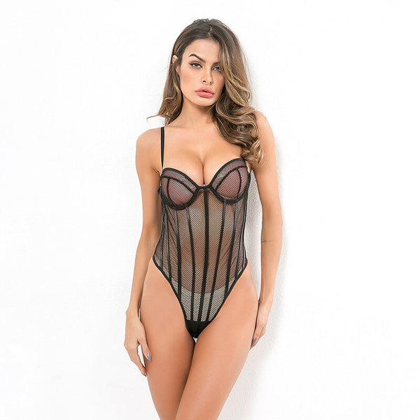 Patchwork Hollow Out Low Cup Bodysuit -  200000362 - ShaadiMagic