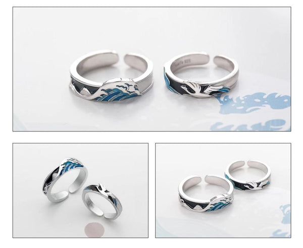 Thaya Flying Bird Wave Ring s925 Silver Blue Drop Oil 3D Wave Couple Rings for Women Elegant Irish Fine Jewelry Lovers'Gift -  200001701 - ShaadiMagic