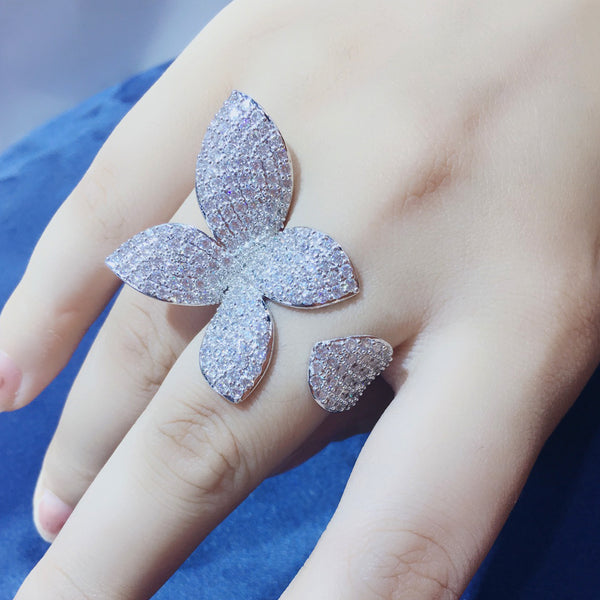 Leaf Shape Micro Cubic Pave Adjustable Ring -  100007323 - ShaadiMagic