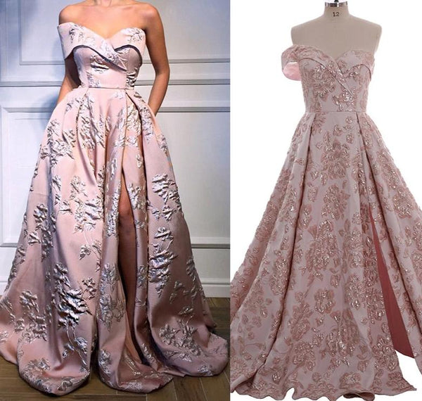 Pockets One Shoulder Sexy Pink Gold Evening Dresses 2019 Long 3D Flower Fashion Formal Evening Gowns Long Elegant Prom Dress -  32004 - ShaadiMagic