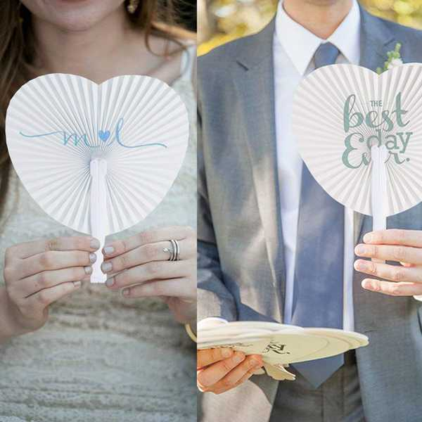 24 Pc. Heart Shape Hand Held Paper Fan -  200220143 - ShaadiMagic